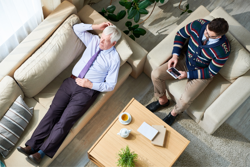 Mental Illness in Seniors - Man at therapist3